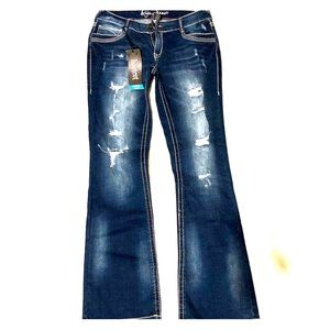 Distressed blue jeans, Size 9/10